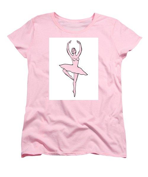 Spinning Ballerina Silhouette Women's T-Shirt (Standard Cut) by Irina Sztukowski
