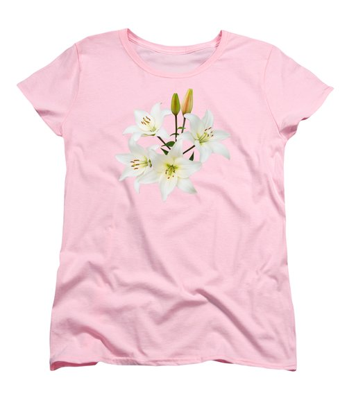 Spray Of White Lilies Women's T-Shirt (Standard Cut) by Jane McIlroy