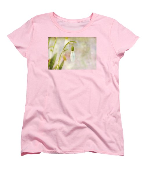 Women's T-Shirt (Standard Cut) featuring the photograph Spring Snowdrops And Bokeh by Peggy Collins