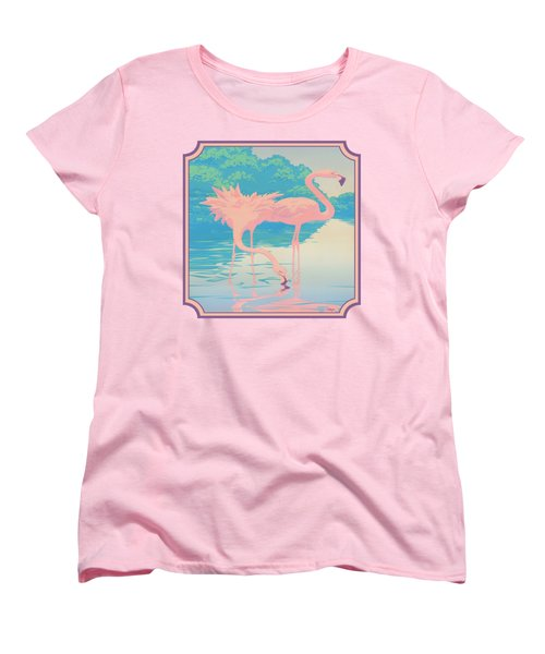 Square Format - Pink Flamingos Retro Pop Art Nouveau Tropical Bird 80s 1980s Florida Painting Print Women's T-Shirt (Standard Cut) by Walt Curlee