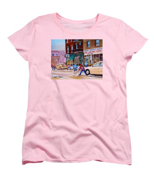 St. Viateur Bagel With Boys Playing Hockey Women's T-Shirt (Standard Cut) by Carole Spandau