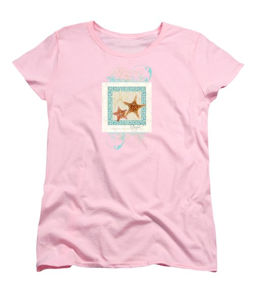 Women's T-Shirt (Standard Cut) featuring the painting Starfish Greek Key Pattern W Swirls by Audrey Jeanne Roberts