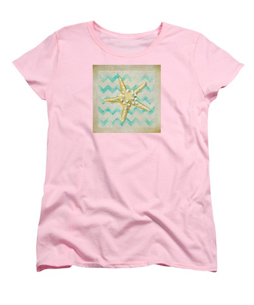 Starfish In Modern Waves Women's T-Shirt (Standard Cut) by Sandi OReilly