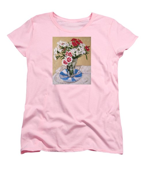 Women's T-Shirt (Standard Cut) featuring the painting Summer Flowers by Laura Aceto