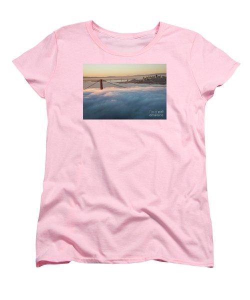 Women's T-Shirt (Standard Cut) featuring the photograph Sun Rise At Golden Gate Bridge by David Bearden