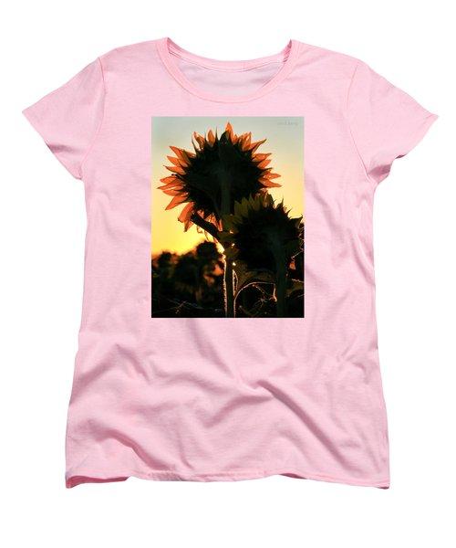 Women's T-Shirt (Standard Cut) featuring the photograph Sunflower Greeting  by Chris Berry