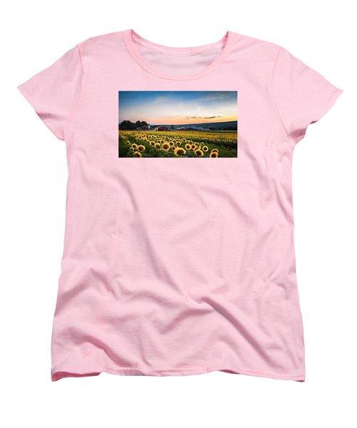 Sunflowers, Moon And Stars Women's T-Shirt (Standard Cut) by Eduard Moldoveanu