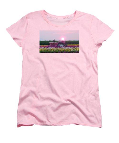Sunrise Pink Greets John Deere Tractor Women's T-Shirt (Standard Cut) by Susan Garren