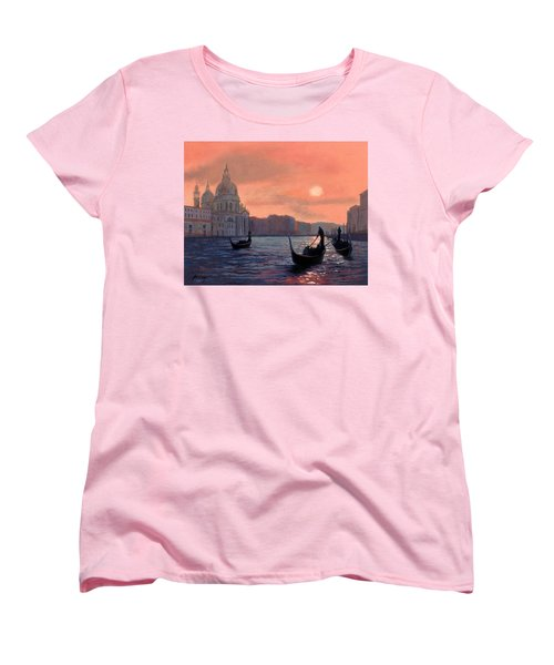 Women's T-Shirt (Standard Cut) featuring the painting Sunset On The Grand Canal In Venice by Janet King