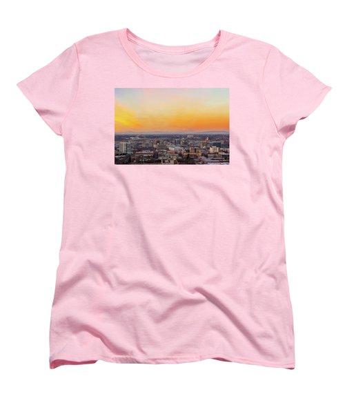Sunset Over Portland Cityscape And Mt Saint Helens Women's T-Shirt (Standard Fit)
