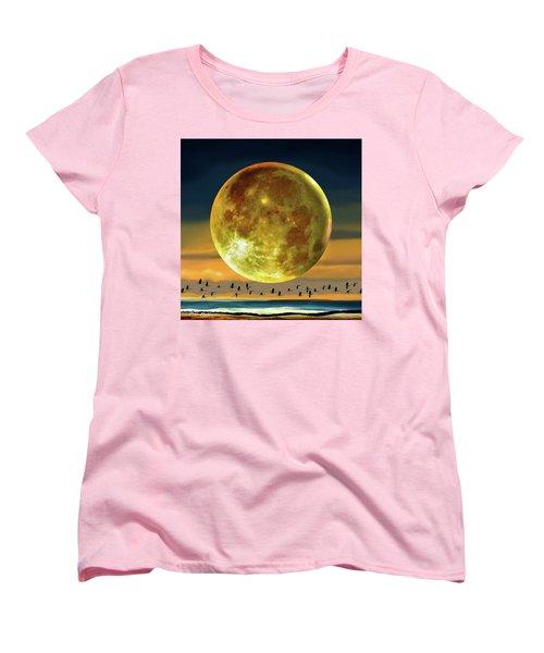 Super Moon Over November Women's T-Shirt (Standard Cut) by Robin Moline