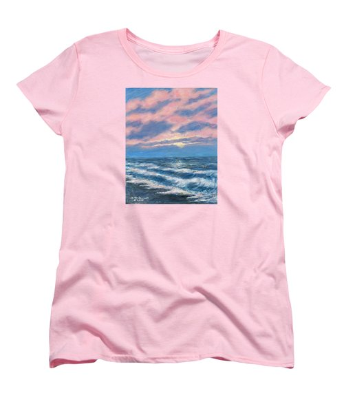 Women's T-Shirt (Standard Cut) featuring the painting Surf And Clouds by Kathleen McDermott