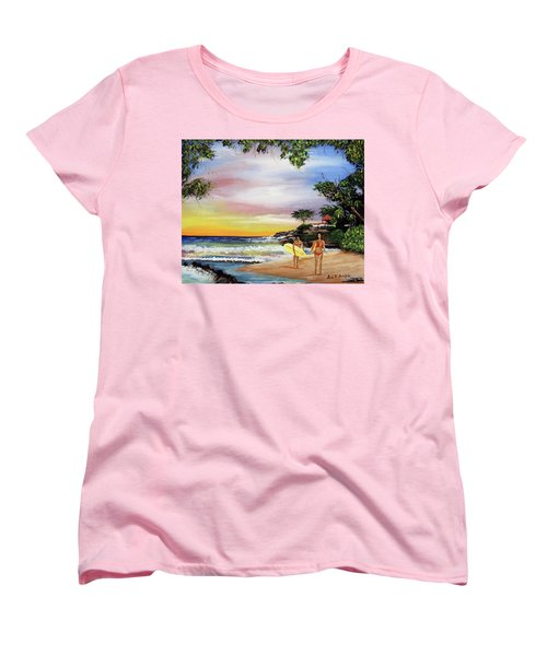 Surfing In Rincon Women's T-Shirt (Standard Cut) by Luis F Rodriguez