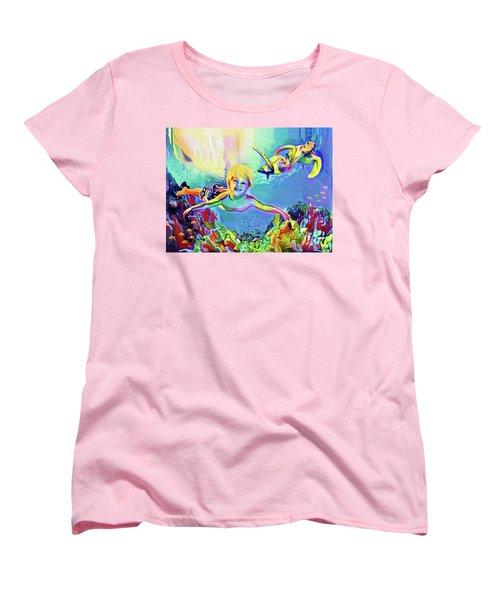 Swimming With Turtles Women's T-Shirt (Standard Cut) by Jann Paxton