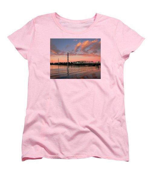 Swing Bridge At Sunset, Topsail Island, North Carolina Women's T-Shirt (Standard Cut) by John Pagliuca