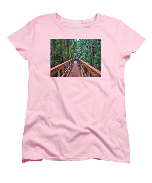 Women's T-Shirt (Standard Cut) featuring the photograph Swing Bridge by Trena Mara