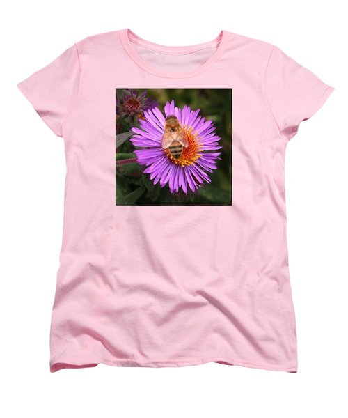 Women's T-Shirt (Standard Cut) featuring the photograph The Aster And The Bee by Laurel Talabere