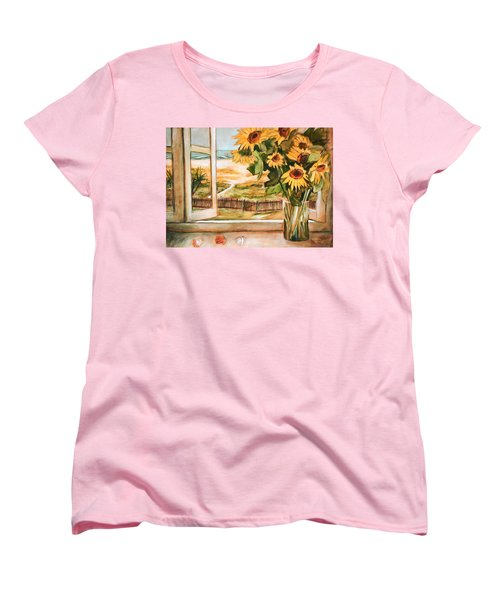 The Beach Sunflowers Women's T-Shirt (Standard Cut) by Winsome Gunning