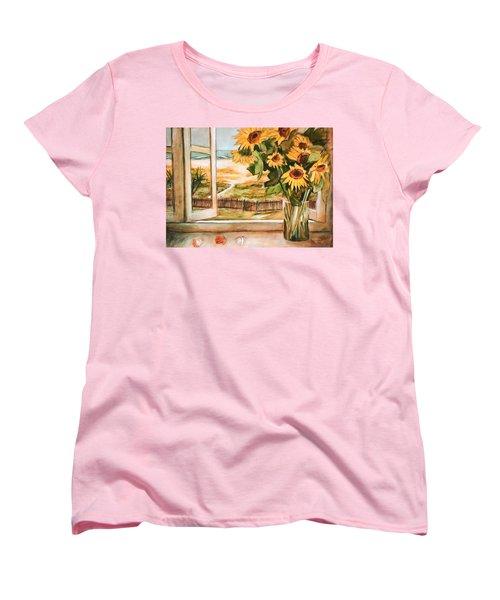 The Beach Sunflowers Women's T-Shirt (Standard Cut)