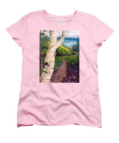 Women's T-Shirt (Standard Cut) featuring the painting The Birch by Renate Nadi Wesley