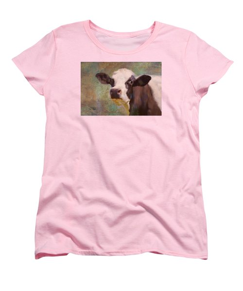 Women's T-Shirt (Standard Cut) featuring the mixed media The Dairy Queen by Colleen Taylor