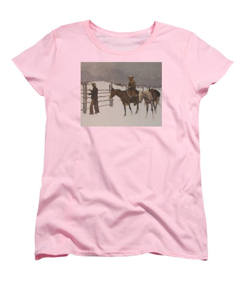 The Fall Of The Cowboy Women's T-Shirt (Standard Cut) by Frederic Remington