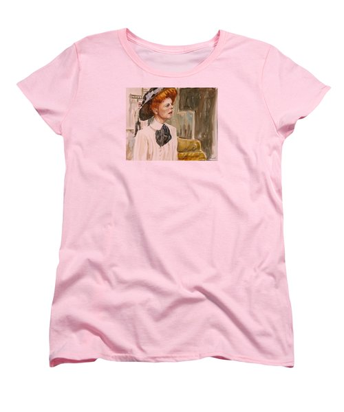 Women's T-Shirt (Standard Cut) featuring the painting The Girl In The Movies by P Maure Bausch