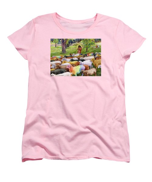 Women's T-Shirt (Standard Cut) featuring the painting The Good Shepherd by Anne Gifford