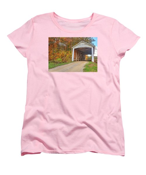 Women's T-Shirt (Standard Cut) featuring the photograph The Harry Evans Covered Bridge by Harold Rau