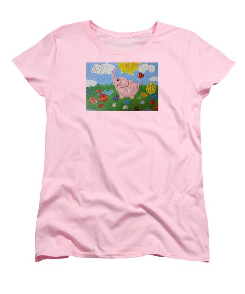Little Pink Elephant Women's T-Shirt (Standard Cut) by Rita Fetisov