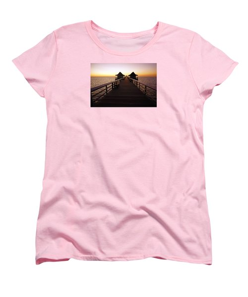 Women's T-Shirt (Standard Cut) featuring the photograph The Naples Pier At Twilight - 01 by Robb Stan