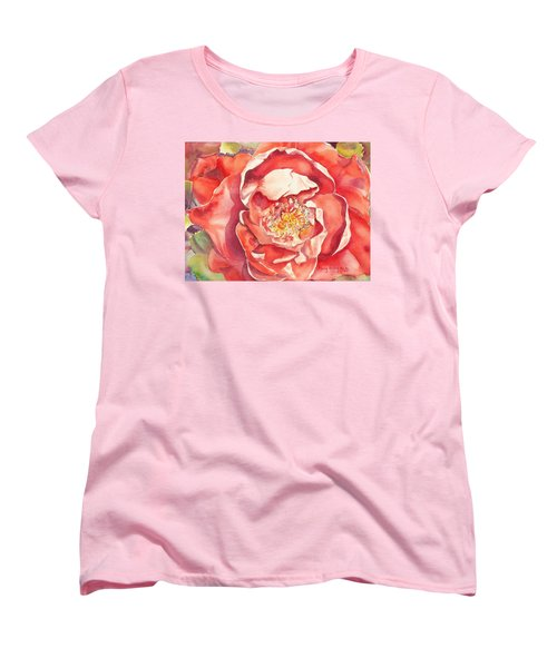 Women's T-Shirt (Standard Cut) featuring the painting The Rose by Mary Haley-Rocks