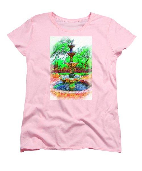 The Spanish Courtyard Fountain Women's T-Shirt (Standard Cut) by Kirt Tisdale
