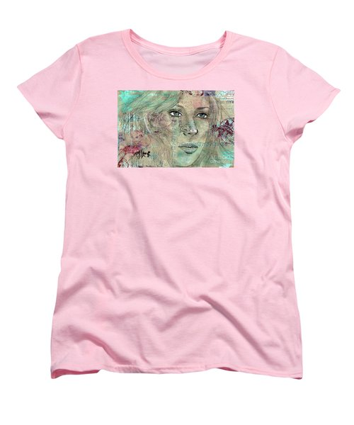 Women's T-Shirt (Standard Cut) featuring the drawing Thinking Back by P J Lewis