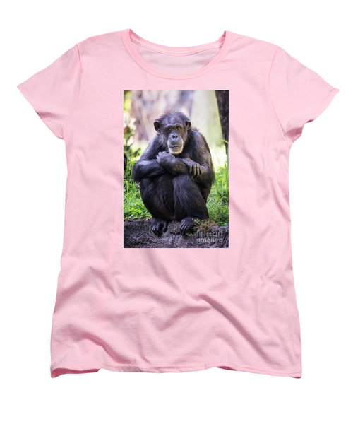 Thoughtful Chimpanzee  Women's T-Shirt (Standard Cut) by Stephanie Hayes