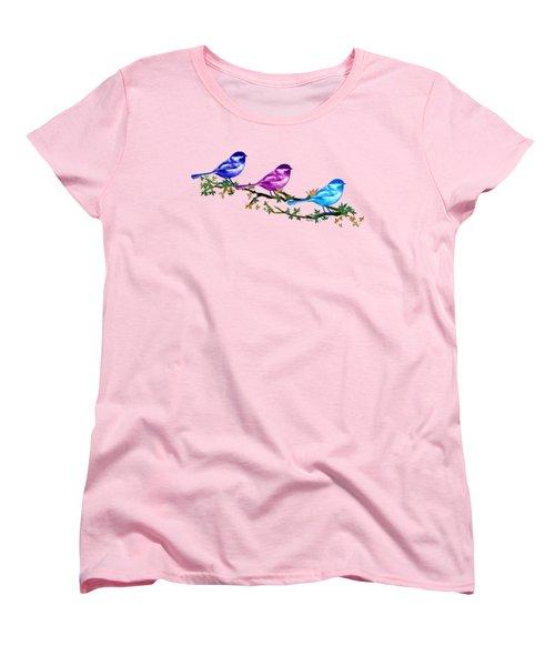 Three Chickadees Women's T-Shirt (Standard Cut) by Teresa Ascone