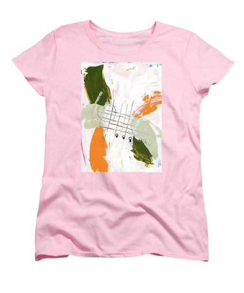 Women's T-Shirt (Standard Cut) featuring the painting Three Color Palette Orange 3 by Michal Mitak Mahgerefteh