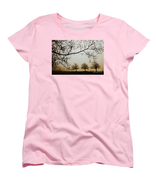 Women's T-Shirt (Standard Cut) featuring the photograph Three Cypress In The Mist by Iris Greenwell