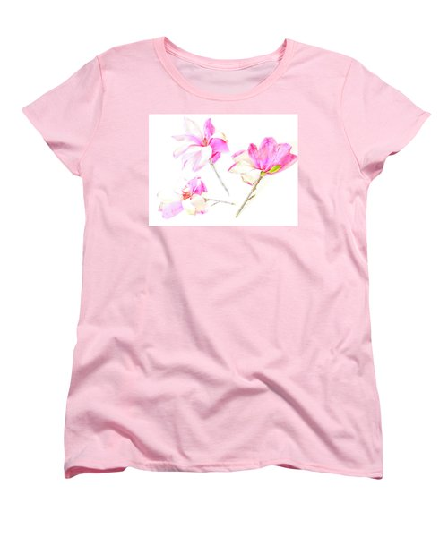 Women's T-Shirt (Standard Cut) featuring the photograph Three Magnolia Flowers by Linde Townsend