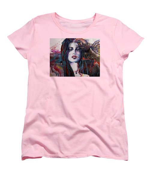 Women's T-Shirt (Standard Cut) featuring the painting Through My Mind by Geni Gorani