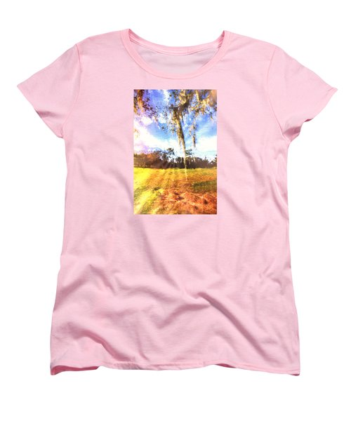 Women's T-Shirt (Standard Cut) featuring the painting Through The Moss by Annette Berglund