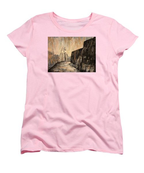 Women's T-Shirt (Standard Cut) featuring the painting Tikal Ruins- Guatemala by Ryan Fox