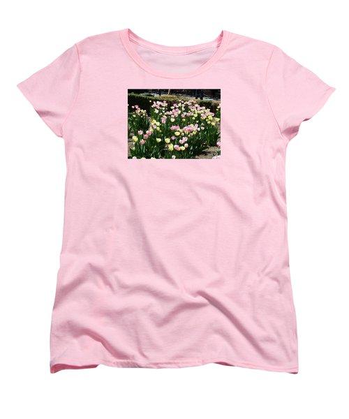 Women's T-Shirt (Standard Cut) featuring the photograph Tiptoe Through The Tulips by Helen Haw