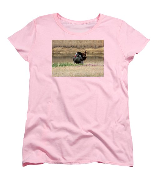 Tom Turkey At Pond Women's T-Shirt (Standard Cut) by Sheila Brown