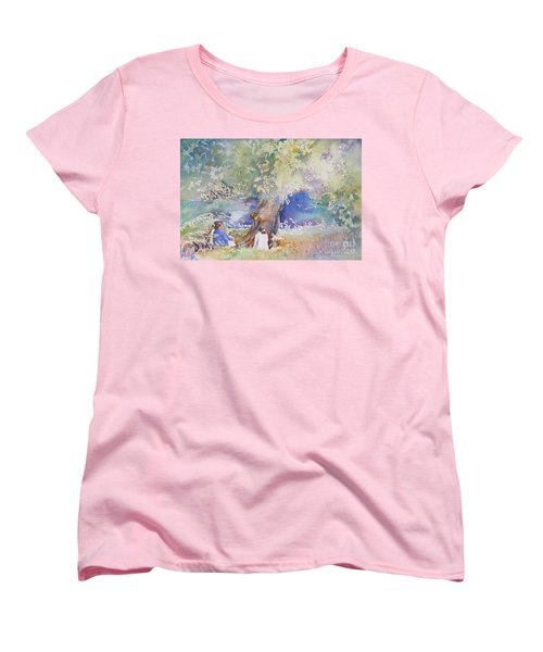 Women's T-Shirt (Standard Cut) featuring the painting Tranquility At The Brandywine River by Mary Haley-Rocks
