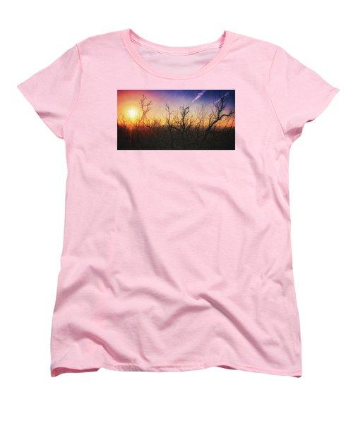 Treetop Silhouette - Sunset At Lapham Peak #1 Women's T-Shirt (Standard Cut) by Jennifer Rondinelli Reilly - Fine Art Photography