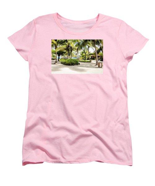 Tropical Courtyard Women's T-Shirt (Standard Cut) by Lawrence Burry
