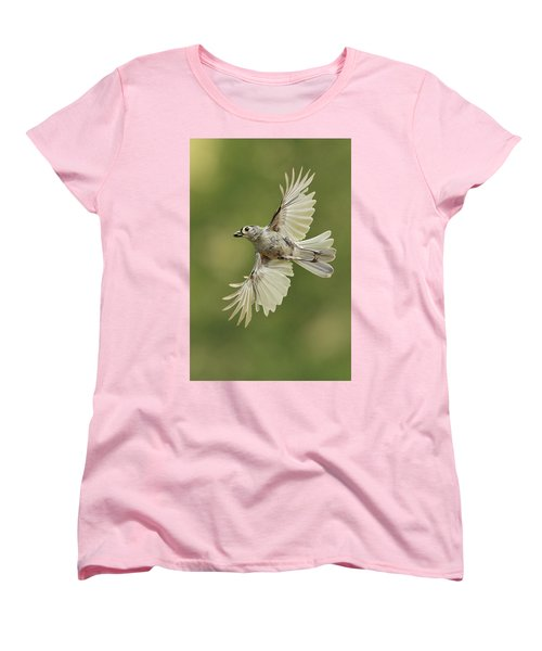 Tufted Titmouse In Flight Women's T-Shirt (Standard Cut) by Alan Lenk