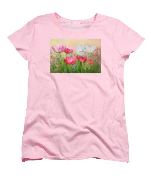 Women's T-Shirt (Standard Cut) featuring the painting Tulip Garden by Bonnie Willis