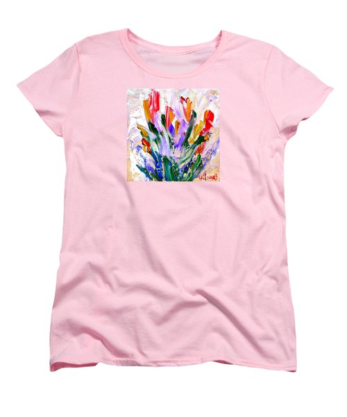 Women's T-Shirt (Standard Cut) featuring the painting Tulips by Fred Wilson